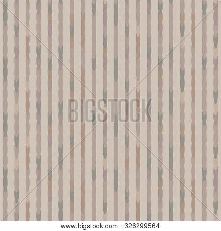 Hand Drawn Broken Vertical Textile Stripe Seamless Pattern. Modern Burlap Linen Hand Drawn In Brown,