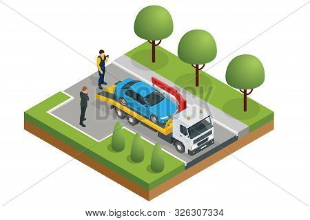 Isometric Tow Truck, Roadside Assistance . Tow Truck For Transportation Faults And Emergency Cars. T