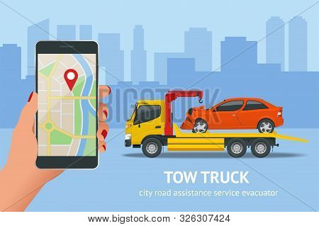 Tow Truck, Roadside Assistance . Tow Truck For Transportation Faults And Emergency Cars. The Tow Tru