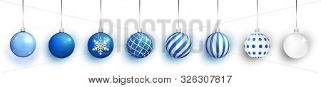 Blue Transparent And Christmas Ball With Snow Effect Set. Xmas Glass Ball On White Background. Holid
