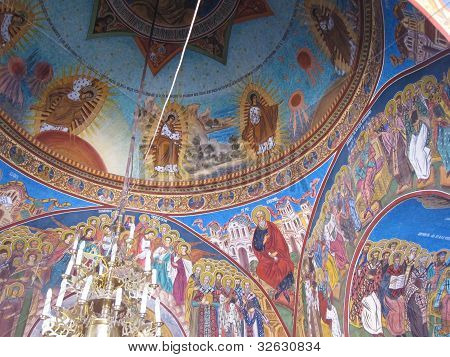 painted vault in a romanian monastery