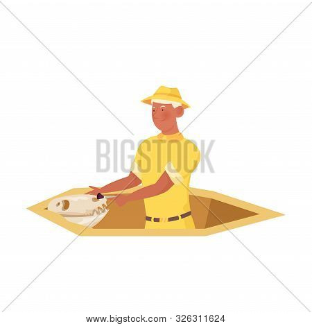 Man Archaeologist In Yellow Clothing Repaiting Artifact Vector Illustration