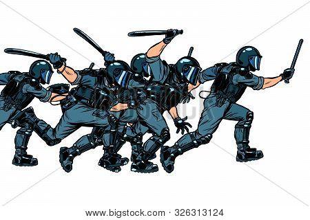 Police Squad. Authoritarian And Totalitarian Regimes Concept. Pop Art Retro Vector Illustration Draw