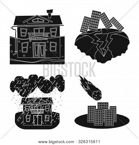 Vector Design Of Calamity And Crash Icon. Collection Of Calamity And Disaster Stock Symbol For Web.