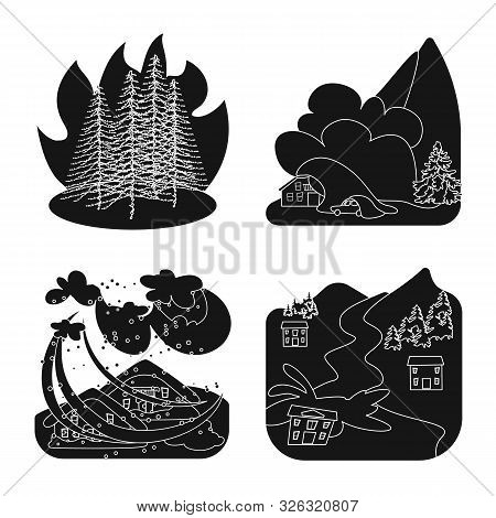 Vector Design Of Calamity And Crash Symbol. Collection Of Calamity And Disaster Vector Icon For Stoc