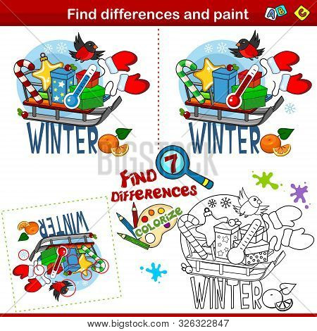 Set For Children And Schoolchildren. Find The Difference In The Picture And Color It. Winter Picture