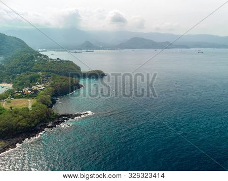 Padang Bai In Northeast Bali In Indonesia Aerial View Of The Stunning Bias Tugel Beach, A Hidden Tra
