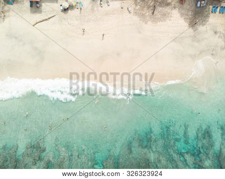 Padang Bai In Northeast Bali In Indonesia Aerial View Of The Stunning Beach, A Hidden Bias Tugel Tra
