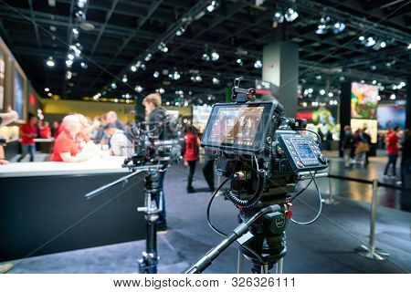 COLOGNE, GERMANY - CIRCA SEPTEMBER, 2018: Canon equipment on display at the Photokina Exhibition. Photokina is a leading trade fair for the worldwide photo industry.