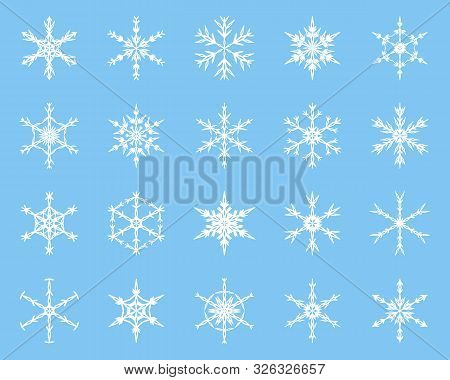 Winter Snowflake Vector Elements Collection. White Silhouette On Blue Background. Winter Icons For X