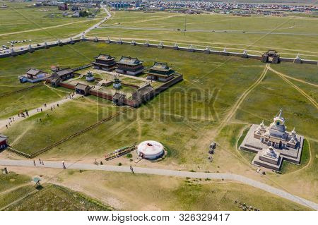 Aerial view of the Kharkhorin Erdene Zuu Monastery .in Kharkhorin (Karakorum), Mongolia. Karakorum was the capital of the Mongol Empire between 1235 and 1260.