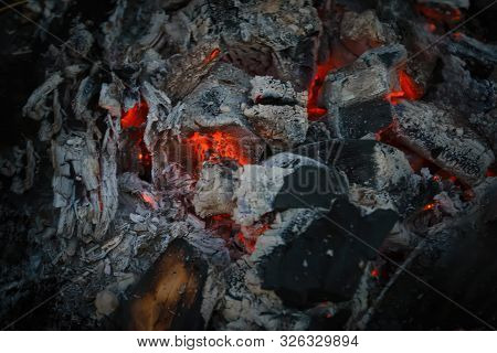 Texture Of Burning Charcoals In A Bonfire. Close-up Of Burning Charcoal.