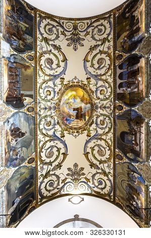 Estoril - August 14, 2019: Detail Of The Ceiling Above The Central Nave Of The Church Of St Anthony,