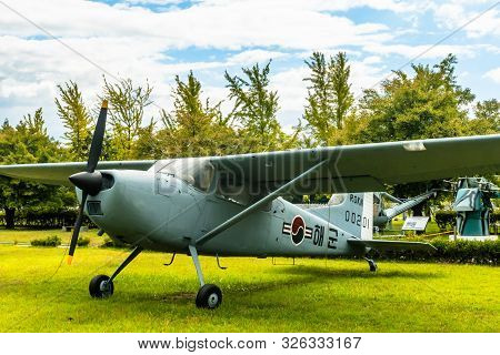 Daejeon, South Korea; October 3, 2019: Port Side View Of Cessna 140 Military Flight Trainer On Displ