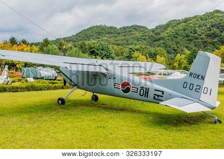 Daejeon, South Korea; October 3, 2019: Left Rear View Of Cessna 140 Military Flight Trainer On Displ