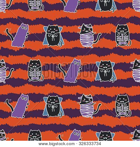 Halloween Kawaii Cats, Dressed Up, Super Cute, Happy Cartoon Characters, Colorful Striped Seamless P