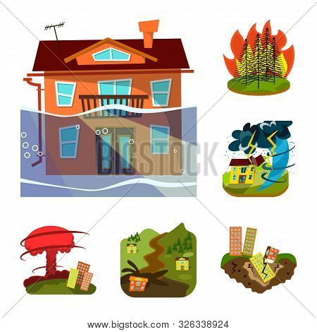 Vector Design Of Cataclysm And Disaster Icon. Collection Of Cataclysm And Apocalypse Stock Vector Il