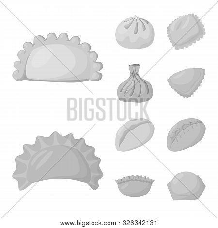 Vector Design Of Dumplings And Stuffed Sign. Collection Of Dumplings And Dish Vector Icon For Stock.