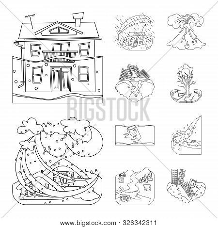 Vector Illustration Of Cataclysm And Disaster Symbol. Collection Of Cataclysm And Apocalypse Stock S