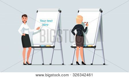 Business Woman Giving Lecture On Modern Flipchart