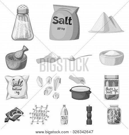 Vector Design Of Salt And Food Logo. Set Of Salt And Mineral Stock Symbol For Web.