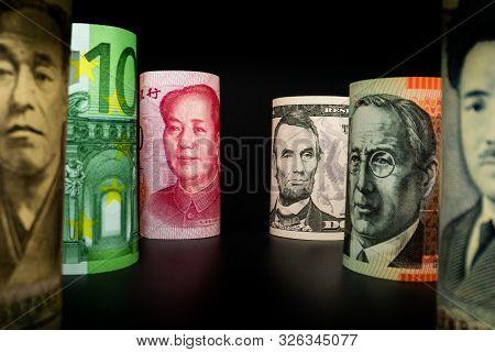 Macro Shot Of International Currency Money Include Us American Dollar, Euro Currency, British Uk Pou