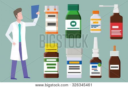 Cure Equipment, Syrup In Bottle, Volume With Dropper, Pills And Drops. Doctor Character Holding Medi