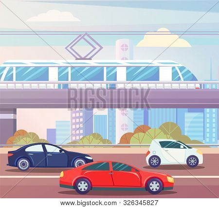 Automobiles Moving By Road, Train Going By Bridge, Skyscrapers And Trees. Transport Moving Near Buil