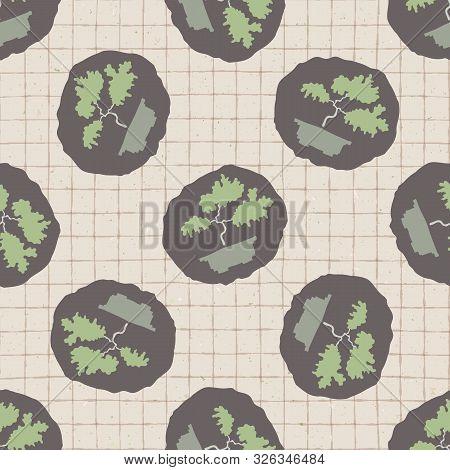 Hand Drawn Japanese Bonsai Tree Symbol Seamless Pattern. Soft Ecru Beige Neutral Tone. Grid Backgrou