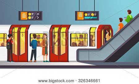 City Underground Subway Transit Station With Train