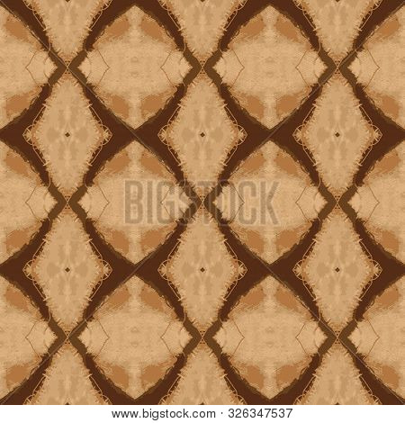 Fabric Woven Textile Texture Seamless Pattern. Distressed Brown, Beige Ecru Neutral Tone. All Over P