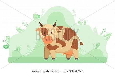 Milk Cow, Farming And Livestock Animal Or Cattle. Domestic Mammal With Horns And Hoofs, Breeding And