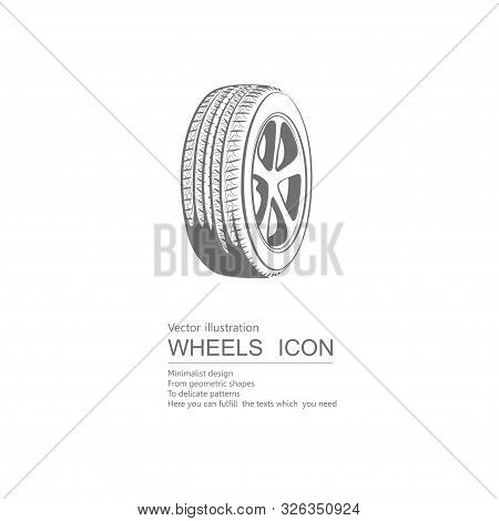 Vector Drawn Tires. Isolated On White Background.