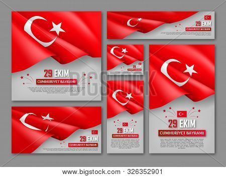Happy Turkish National Day Posters Set. Patriotic Collection With Realistic Turkish Flag Vector Illu