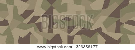 Vector geometric camouflage seamless pattern. Khaki design style for t-shirt. Military texture debris shape pattern, camo clothing while hunting illustration. poster