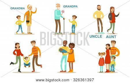 Happy Big Family Members Set, Grandma, Grandpa, Aunt, Uncle, Mother, Father, Children Vector Illustr