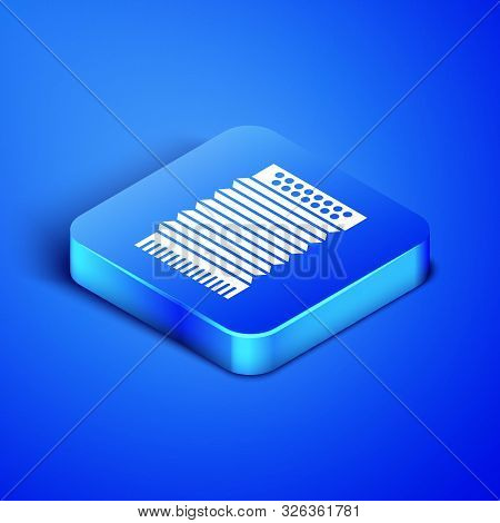 Isometric Musical instrument accordion icon isolated on blue background. Classical bayan, harmonic. Blue square button. Vector Illustration poster