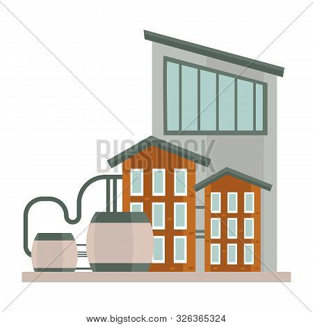 Industrial Three Story Buildings Complex With Reservoir Water Tanks