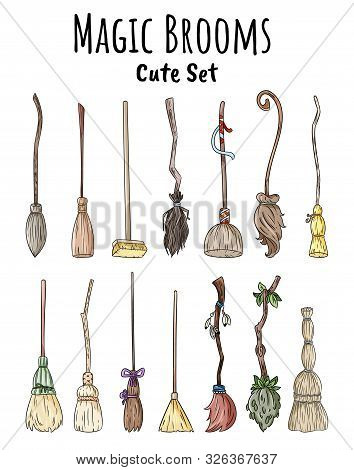 Set Of Cute Broomstick Doodles. Collection Of Happy Halloween Related Illustrations - Magic Brooms.