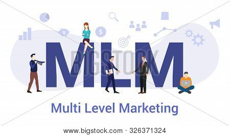 Mlm Multi Level Marketing Concept With Big Word Or Text And Team People With Modern Flat Style - Vec