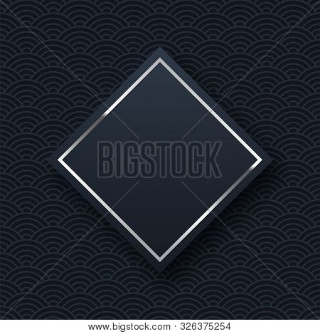 Silver Frame Minimalistic Template With Text Space. Elegant Rhombus Border With Shiny Gradient Effec