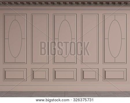 Classic interior walls with copy space.Pink walls with decorative ellipses in mouldings. Ornated cornice.Digital Illustration.3d rendering poster