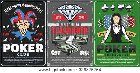 Poker Tournament, Gambling Game Club And Casino Betting Vector Design. Casino Dice, Chips And Playin