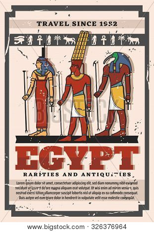 Gods And Goddess Of Ancient Egypt, Egyptian Travel Landmark And Tourism Vector Design. Isis, Amun An