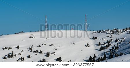 Velka Luka And Krizava From Veterne Hill In Lucanska Mala Fatra Mountains In Slovakia During Winter