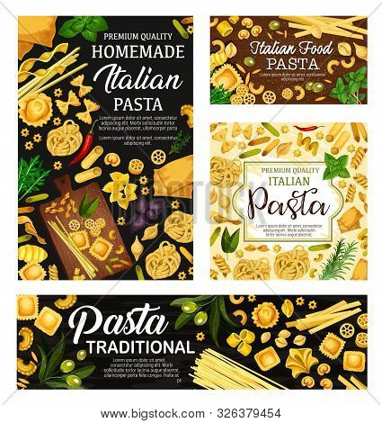 Italian Pasta, Spaghetti And Macaroni With Herbs And Olives Vector Design. Penne, Farfalle And Fusil