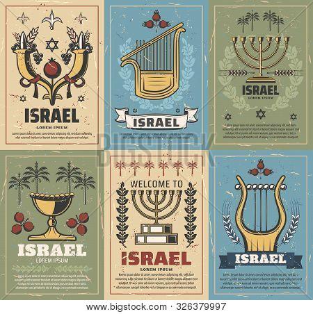 Israel Vector Design Of Judaism Religion And Jewish Culture Symbols. Menorah, Star Of David And Jeru
