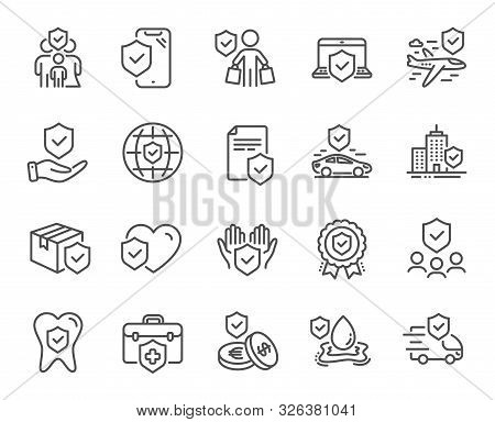 Insurance Line Icons. Health Care, Risk, Help Service. Car Accident, Flood Insurance, Flight Protect