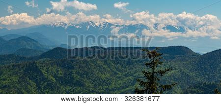 Zapadne Tatry Mountains From Klak Hill In Velka Fatra Mountains In Slovakia During Springtime Day Wi
