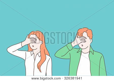 Turning Blind Eye Cartoon Concept. Woman And Man Closing Eyes With Palm Gesture, Looking Through Fin